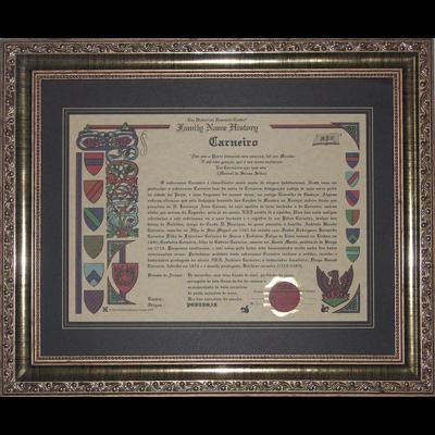 Histórico do Sobrenome com Moldura 288 Dourada